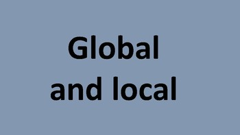 How can we work globally and locally?