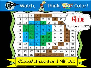Globe Hundreds Chart to 120 - Watch, Think, Color Mystery