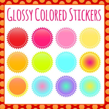 Glossy Sun Style Stickers Clip Art Set for Commercial Use