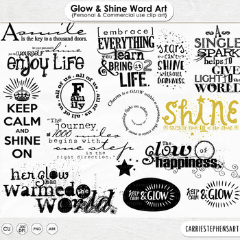 Glow and Shine Word Art, Positive Wordart Quote ClipArt, B