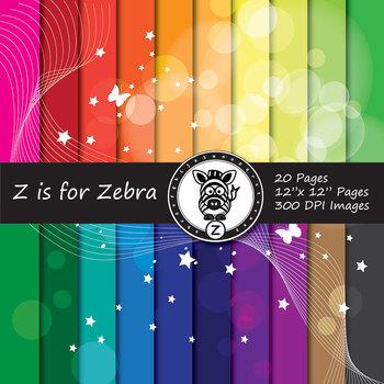 Glowing starburst digital paper pack 1 - Commercial use OK