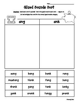 Glued Sounds - ANG and ANK Sorting Activity - Spelling Pra