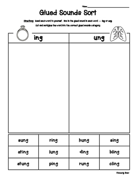 Glued Sounds - ING and UNG Sorting Activity - Spelling Pra