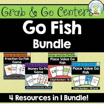 Go Fish Bundle - Place Value, Money, and Fractions