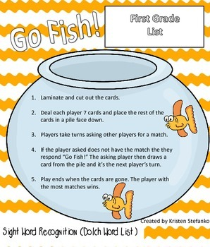 Go Fish! Dolch First Grade List