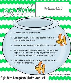Go Fish! Dolch Primer List