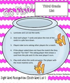 Go Fish! Dolch Third Grade List