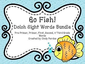Go Fish Sight Words Bundle- Pre-Primer, Primer, First, Sec