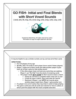 Go Fish: Initial & Final Blends Game- Orton Gillingham Pho