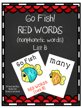 Go Fish! Red Words (Nonphonetic Words) List B Orton-Gillingham