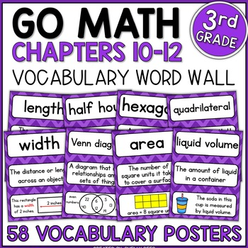 Go Math 3rd Grade Vocabulary Packet - Chapters 10-12: Defi