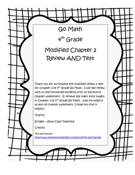 Go Math 4th Grade Chapter 2 Modified Review AND Test