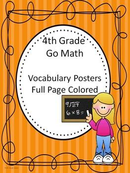 Go Math 4th Grade Full Colored Vocabulary Posters