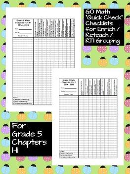 Go Math 5th Grade Quick Check Assessment Checklists for 2014-15