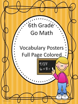 Go Math 6th Grade Full Page Colored Vocabulary Posters