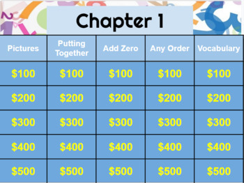 Go Math! Chapter 1 jeopardy review game