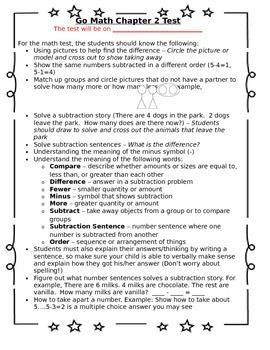 1st Grade Go Math Chapter 2 Study Sheet for Parents