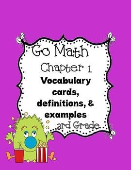 Go Math~ Chapter  1 Vocabulary Words 3rd grade