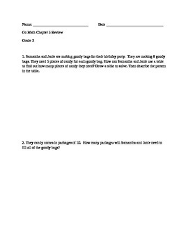 Go Math Chapter 5 Grade 3 Review Task