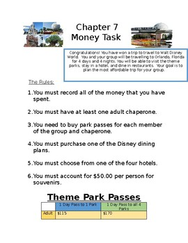 Go Math! Chapter 7 Money Task for Small Group Work
