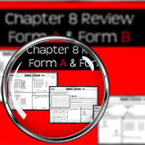 """Chapter 8 Review """"Go Math"""" Form: B Included"""