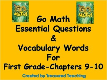 Go Math First Grade Essential Questions for Lessons and Vo