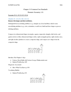 Go Math - First Grade Lesson Plans - Chapter 11
