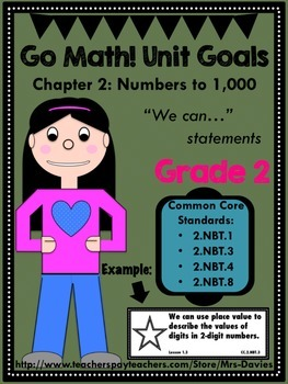 Go Math Grade 2 Chapter 2: Numbers To 1,000 Unit Goals Display
