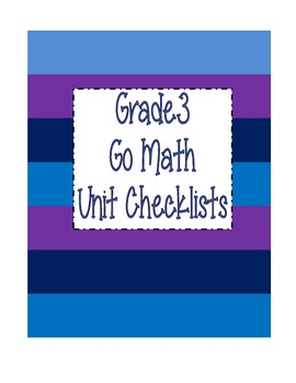 Go Math Grade 3 Checklists