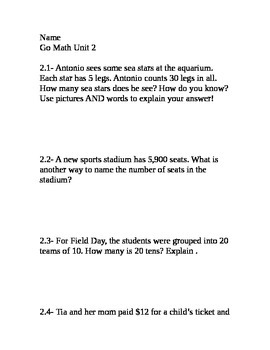 Go Math Grade 4 Unit 2 Problem of the Day without multiple