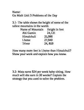 Go Math Grade 4 Unit 3 Problem of the Day without multiple
