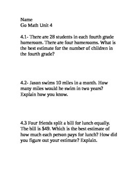 Go Math Grade 4 Unit 4 Problem of the Day without multiple
