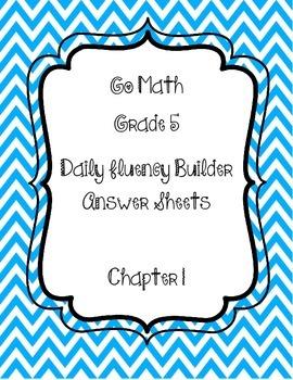 Go Math Grade 5 Daily Fluency Builder Student Response She