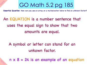 Go Math Interactive Mimio Lesson 5.2 Find Unknown Patterns