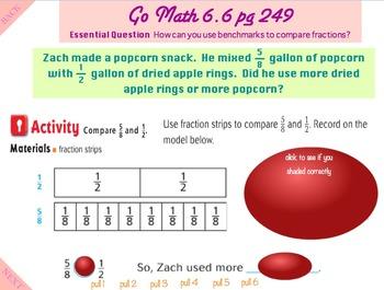 Go Math Interactive Mimio Lesson 6.6 Compare Fractions Usi