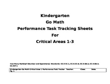 Go Math Kindergarten Critical Areas Trackers for Performan