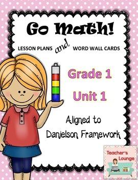 Go Math Lesson Plans Unit 1 - Word Wall Cards - EDITABLE -