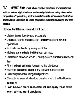 Go Math Success Criteria Grade 4  Chapters 4,5, and 6