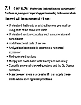 Go Math Success Criteria Grade 4  Chapters 7, 8, and 9