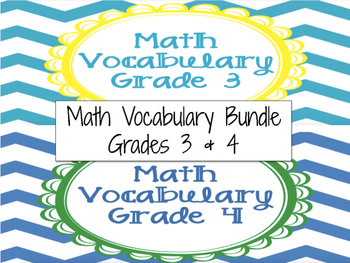 Math Vocabulary Cards Grade 3 & 4 Bundle