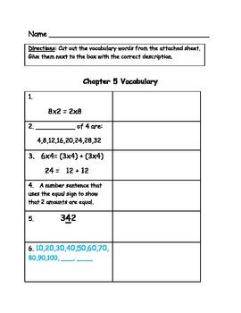 Go Math Vocabulary Match, Grade 3, Chapter 5