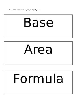 Go Math Word Wall Vocabulary: Chapter 13, 4th grade