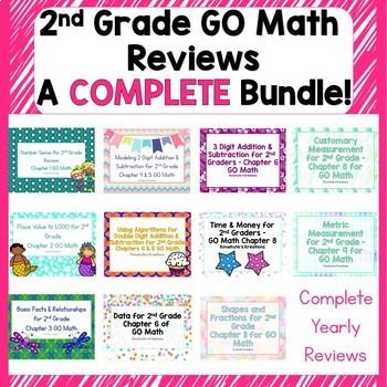 Go Math's 2nd Grade Reviews - GROWING Bundle!