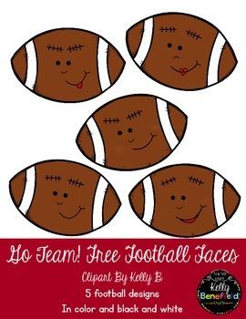 Go Team! Football Faces Clipart by Kelly B