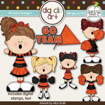 Go Team (Orange) 1-  Digi Clip Art/Digital Stamps - CU Clip Art