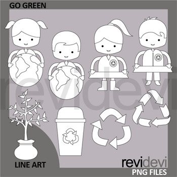 Go green and recycle clip art black and white - Earth day clipart