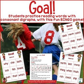 Consonant Digraphs: Soccer Themed BINGO Game