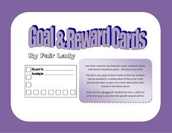 Goal & Reward Cards - Blanks