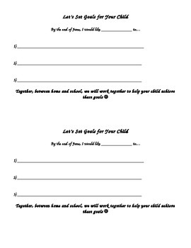 Goal Setting with Parents Form