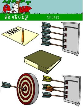 Goals, Benchmarks, Assessments Clipart Graphics 300dpi Col